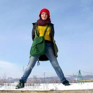 kobieca na ramię teczka z troczkiem zielony zamsz