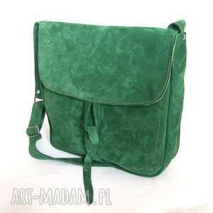 kobieca teczka z troczkiem zielony zamsz