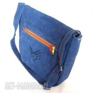 niebieskie na ramię zamsz teczka z troczkiem niebieski