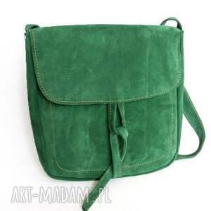handmade na ramię kobieca teczka z troczkiem zielony zamsz