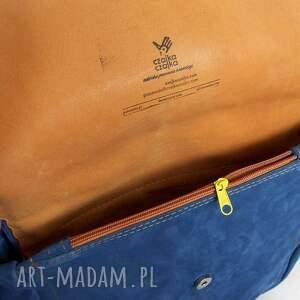 niebanalne na ramię zamsz teczka z troczkiem niebieski