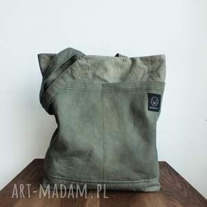 organiczna na ramię torba canvas khaki - ręcznie
