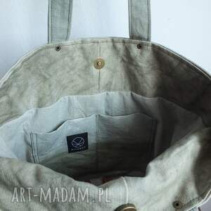 na ramię organiczna torba canvas khaki - ręcznie