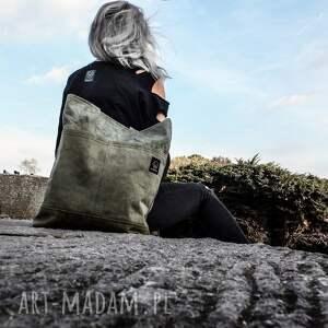 handmade na ramię organiczna torba canvas khaki - ręcznie