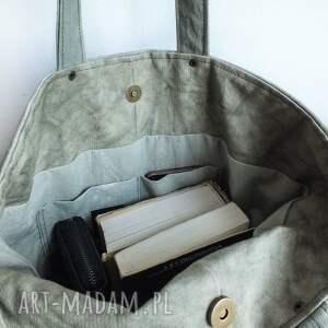 handmade na ramię pojemna torba canvas khaki - ręcznie