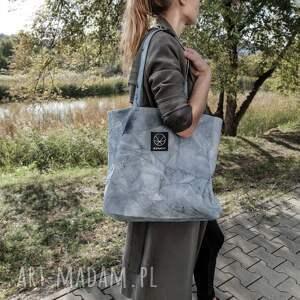 niebieskie na ramię torba bawełniana pojemna miejska na ramie o prostym kroju