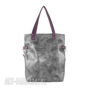 ręcznie wykonane na ramię torba damska cube beżowo-szary