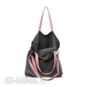 różowe na ramię torba-damska torba damska zamsz mana cube grafit