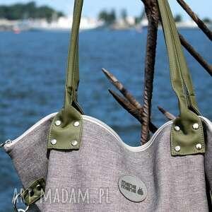 intrygujące na ramię pojemna torba damska worek city oliwkowa