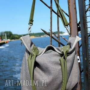 intrygujące na ramię worek torba damska city oliwkowa
