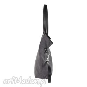 handmade na ramię worek torba damska tarka grafit