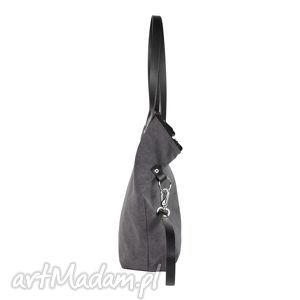 hand made na ramię worek torba damska tarka grafit