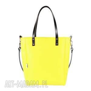trendy na ramię żółta torebka torba damska cuboid yellow
