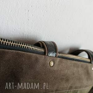 torba-na-zamek na ramię torba double khaki canvas