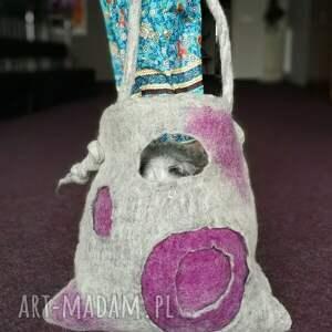 na ramię duża torba filcowana szara duza