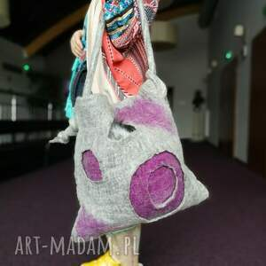eleganckie na ramię filc torba filcowana szara duza