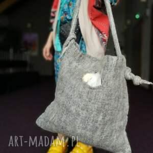 duża na ramię torba filcowana szara duza