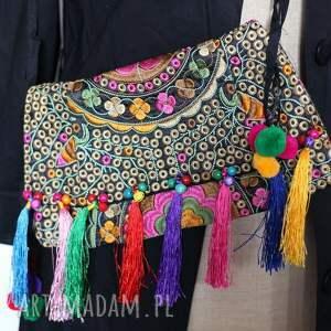 frędzle na ramię torba haftowana etniczna