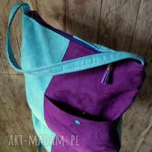 niebieskie na ramię hobo torba z kieszenią