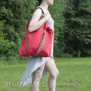 czerwone na ramię hobo torba xxl - czerwień