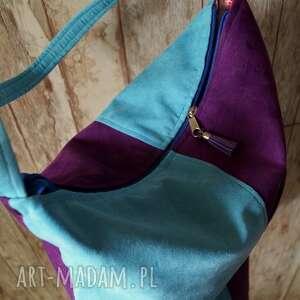 torebka na ramię fioletowe torba hobo z kieszenią