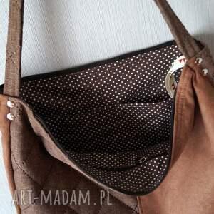 brązowe na ramię torba hobo z łączonych materiałów