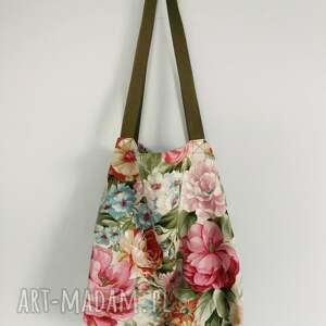 handmade na ramię kosmetyczka torba xxl kwiaty