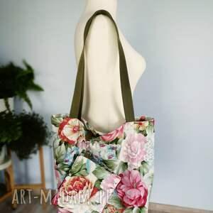 kosmetyczka na ramię różowe torba xxl kwiaty