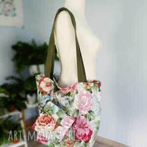 handmade na ramię worek torba xxl kwiaty kosmetyczka