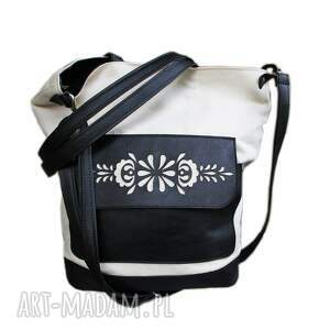 niekonwencjonalne na ramię shopper torba płótno ażurek