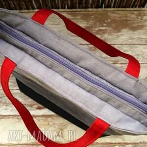 08ff50fc56652 szare na ramię pojemna torba z łączonych