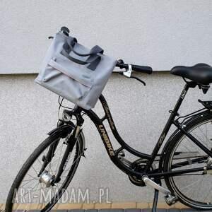 ręcznie robione na ramię rower torba rowerowa romania jasno szara