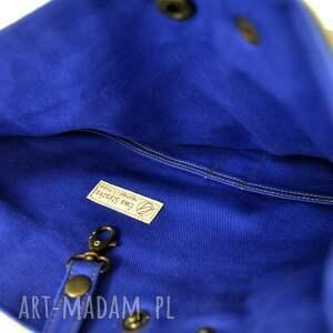 handmade na ramię tote torba serenity blue