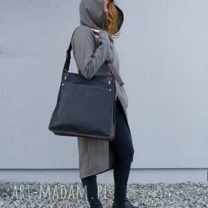 czarne na ramię torba damska skórzana ręcznie