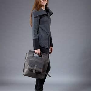 torebka na ramię torba skórzana szara, ręcznie