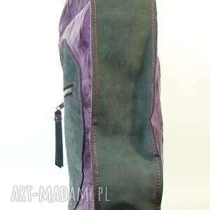 trendy na ramię torba skórzana duża fiolet