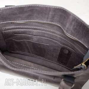 NavahoClothing na ramię: torba skórzana, do ręki, szara ręcznie robiona do pracy