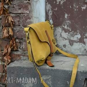 ręcznie wykonane na ramię torebka torba skórzana miodowa poręczna