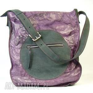 pojemna torba skórzana duża fiolet