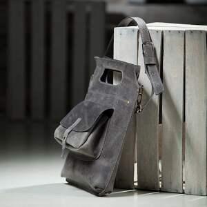 na ramię torebka torba skórzana szara, ręcznie