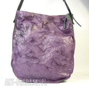trendy na ramię pojemna torba skórzana duża fiolet
