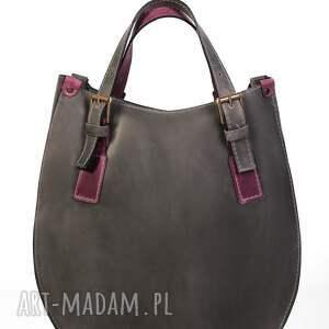 szare na ramię portfel torba torebka ręcznie wykonana