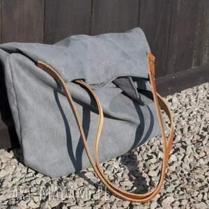 brązowe na ramię tote torba xxl - ciemnoszara