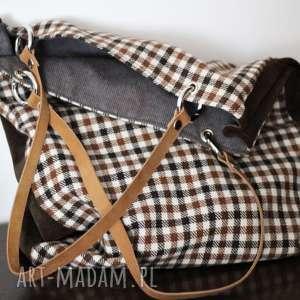 urokliwe na ramię torebka torba w kratkę