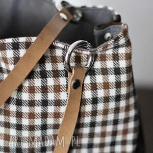 na ramię torebka torba w kratkę