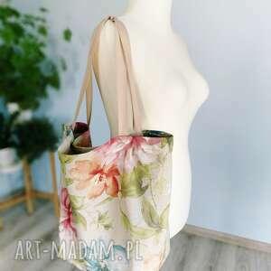 kolorowe na ramię len torba w kwiaty xxl