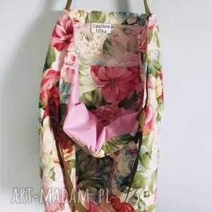 beżowe na ramię torebka torba w kwiaty xxl