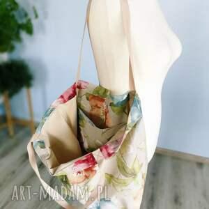 handmade na ramię xxl torba w kwiaty