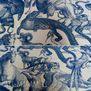 niebieskie na ramię torba w zwierzęce wzory