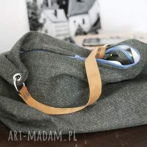 na ramię torebka torba wykonana z wełnianej tkaniny w pepitkę